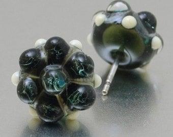 Stud earrings - Stormed - lampwork glass - sterling silver - by Jennie Yip