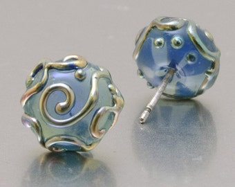 Stud earrings - Line Art - Halong bay and silver - lampwork glass - sterling silver