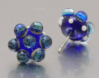 Stud earrings - Blue storm - lampwork glass - sterling silver