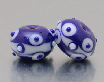 Earring Beads - Faces - dark blue and white - lampwork glass beads (2) - by Jennie Yip