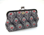 Black peacock clutch - iconic Liberty print