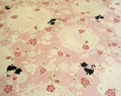 Black Cat and Doily-Japanese cotton fabric(0.5yard)