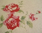Trefle Roses (pink)-Japanese cotton linen blend fabric(0.5yard)