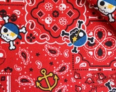Pirate Skull-Japanese cotton linen blend fabric (0.5 yard)
