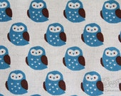 Big Owl(blue)-Japanese cotton linen blend fabric (0.5 yard)