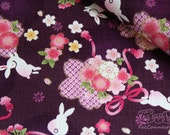 Whimsical Sakura(purple)-Japanese cotton fabric (0.5 yard)