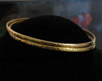 Solid Gold Hammered Bangle Stack Stacking Bracelets Handmade...Set of 2, 14K or 18K, any color