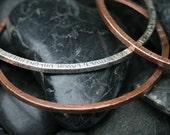Custom Made Copper Secret Quote Bangle Bracelet
