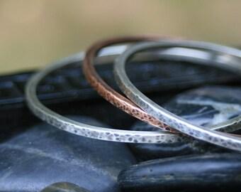 Custom Trio Secret Quote Bangle Bracelets (2 Silver and 1 Copper)