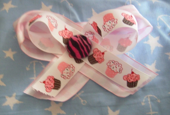 Pink Zebra Cupcake Layered Hair Bow Clip SALE