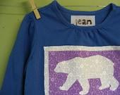 SALE Polar Bear on Girls Long Sleeve Shirt, Size 4