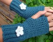 Fingerless Mittens...Wrist Warmers...Dark Teal Blue with Flower