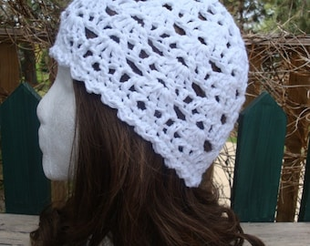 Summer Beanie Hat...Pure White