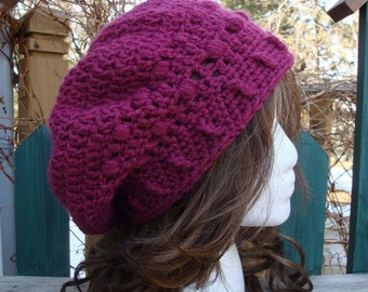 Celebrity Style Beret-Tam-Snood-Newsboy.....Dark Raspberry