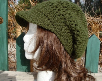 Celebrity Style Beret-Tam-Snood-Newsboy-Brimmed.....Dark Olive Green