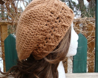 Celebrity Style Beret-Tam-Snood .....Toasted Almond