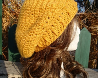 Celebrity Style Beret-Tam-Snood .....Golden Honey Mustard