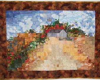 October Prairie Landscape Quilt Wall Hanging, Original, Fall Autumn Colors