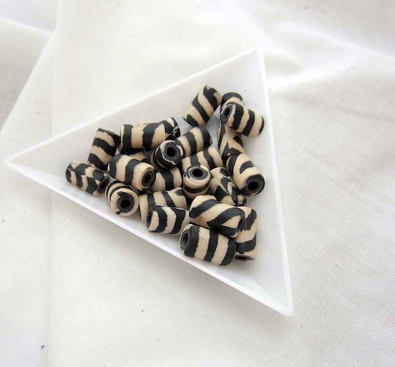 Zebra stripes tube beads 24 count