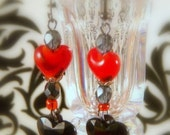 Red Hot Animal Print Earrings with a Black Heart and  Lampwork Red Heart
