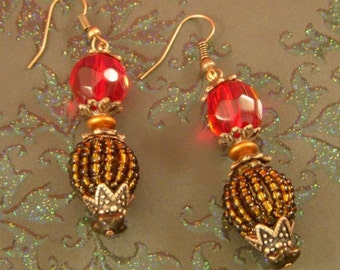 Sunset Red and Firey Copper Beaded Earrings