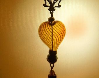 Delicate Art Nouveau Hand Blown Heart Necklace