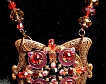 Art Nouveau Necklace,Vintage Etched Copper Jewelry,Fall Color Necklace,Vintage Brooch Necklace,Deep Purple & Iridescent Red, Coral,OOAK SALE