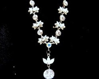 Bridal Hollywood Style Solitare Rhinestone Pendant and Matching Necklace ready for any Red Carpet Event