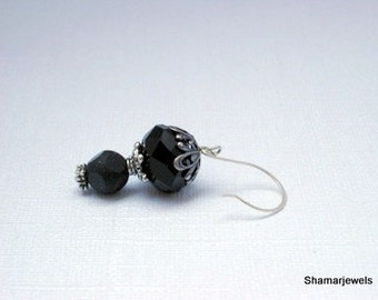 Floral Silver Beadcapped 16mm Onyx Cut Glass Crystal, Matte Black and Mica Dangle Earrings