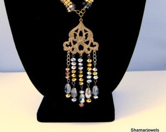 Vintage Inspired Metallic Beaded Silver and Gold Statement Necklace