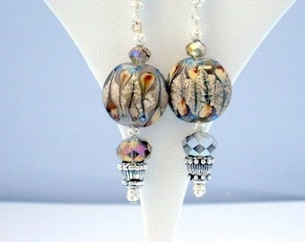 Trendy Grey and Caramel Handmade Beaded Earrings with Lampwork Beads
