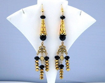 Art Nouveau Style Black and Metallic Gold Crystal Beaded Dangling Earrings