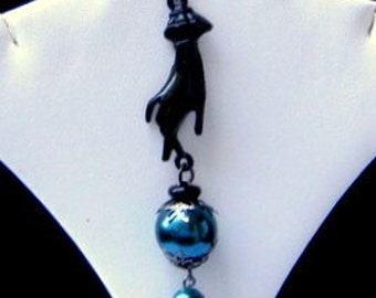 Goth Black Hand Dangling Earrings with Teal Beads