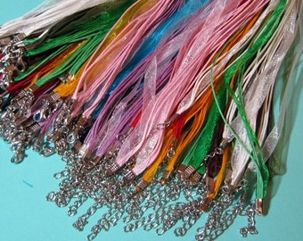 Wholesale Jewel and Pastel tones in Black, White, Cobalt,Green,Chinese Red Silk and Cord Necklaces MORE COLORS