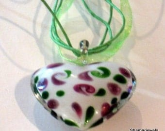 SALE Half Price Murano Italian Blown Glass Heart for Easter, Spring Mothers Day or Just Because