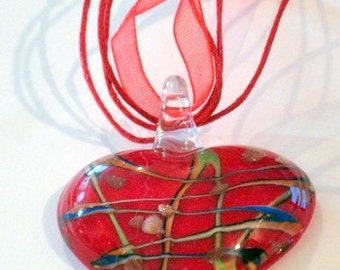 Red Denim Blue Zigzag Murano Italian Glass Heart Pendant with Ribbon