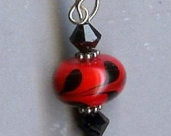 Red and Black Polka Dot Earrings