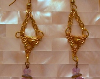 Art Nouveau Dainty Purple Earrings