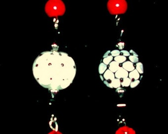 Red, Black White Earrings