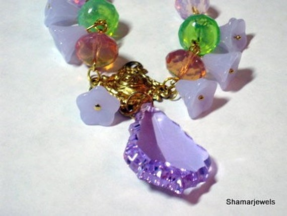 Swarovski Baroque Light Amethyst Pendant with Opaque Lavender Bell Flowers and Opals Necklace