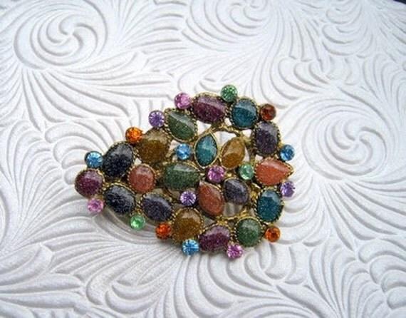 Vintage Brooch with Multicolored Stones SALE