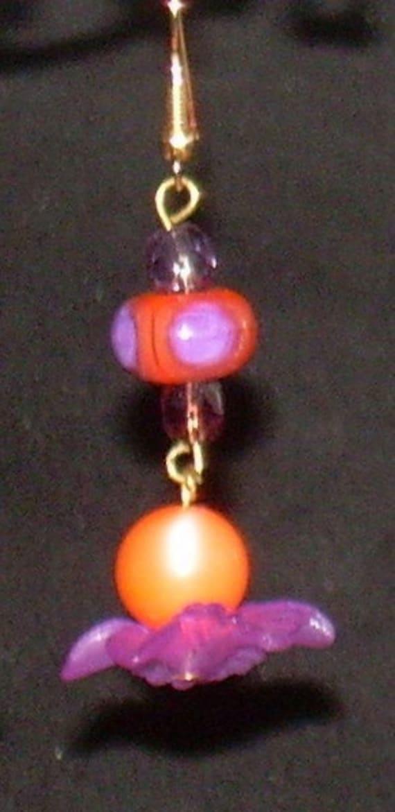 Purple and Orange Lampwork Beaded Earrings