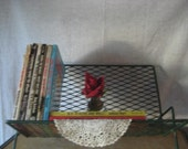 Vintage Metal Mesh Stand Rack Book / Records Shelf