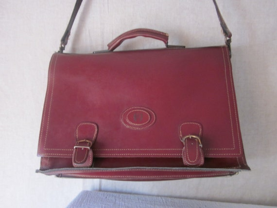 Vintage Old-School / College  Leather Bag - Lawyers Briefcase - Laptop Student - Travel Over Night Messenger