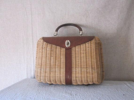 Vintage Box Basket Purse - Wicker & Leather / Rattan Hand Bag - No 1
