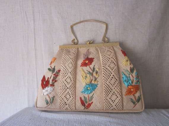Reserved - Vintage Summer Woven Tote Bag - Party Purse - Natural Clutch - No 2