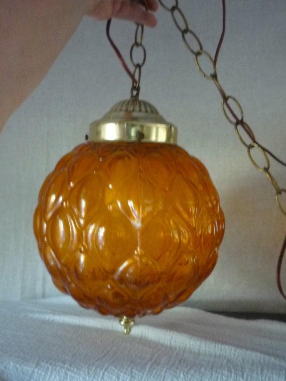 Vintage Hanging Globe Light - Amber Swang Lamp - Pendant,Chain Cord