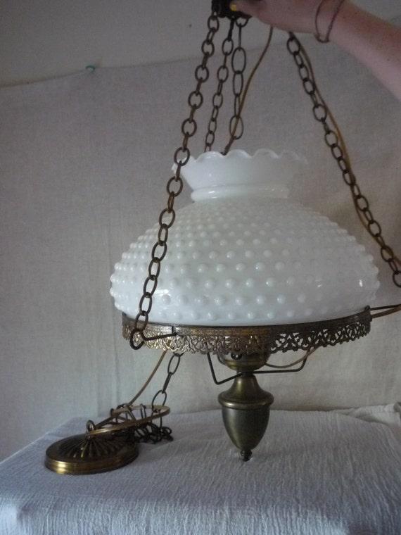 Vintage Milk Glass Chandelier White Hobnail Swag By Shabbylull