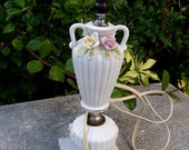 LAMP BASE - porcelain china lamp base with floral relief and marble base