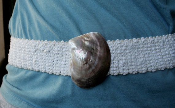 VINTAGE Natural Abalone Shell with white stretchy elastic belt - tropical island belt